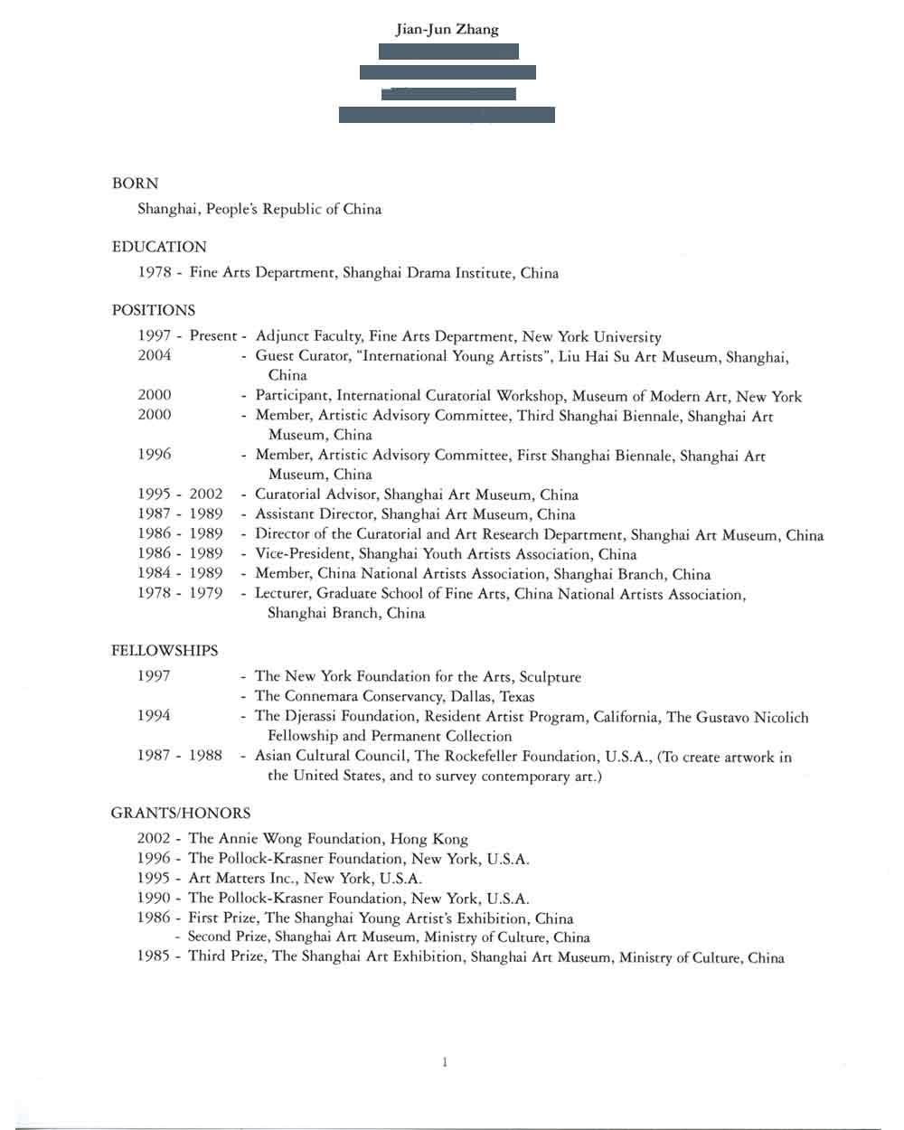 Jian Jun Zhang's Resume, pg 1